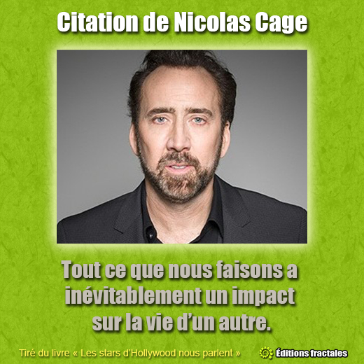 Citation de Nicolas Cage par David TELLIER